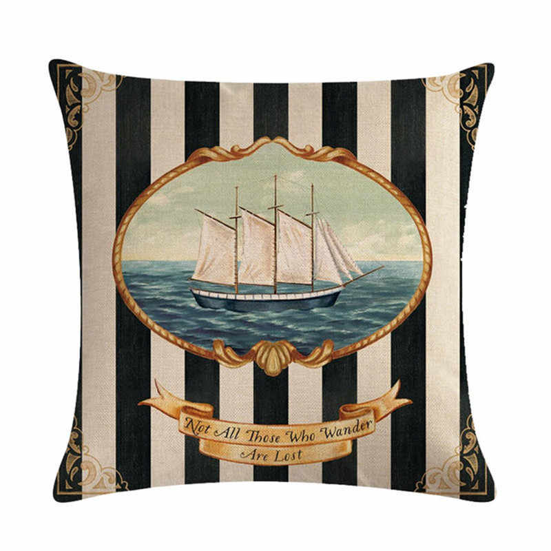45cm * 45cm Antike nautische elemente muster leinen/baumwolle werfen kissen deckt couch kissen abdeckung home dekorative kissen