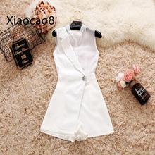 S m l Белый Черный Шифоновый короткий комбинезон без рукавов Женский костюм воротник combiкороткая женская летняя одежда комбинезон