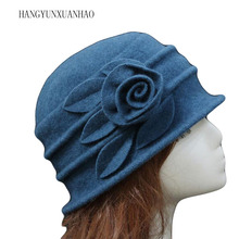 Women Dome Fedora 100% Wool Hat Elegant Mom Hats For Autumn Winter Solid Floral Warm Floppy 6 Colors Wholesale
