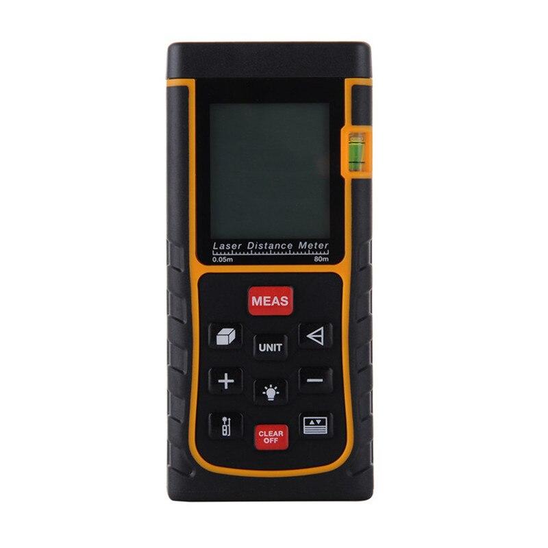 ФОТО  80m 262ft Bubble Level Tool Digital Laser Distance Meter Measure Tape Area/Volume M/in/Ft Laser Rangefind Laser Range Finder