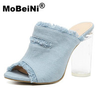 MoBeiNi 2017 New Fashion Wear Casual High Thick With Women Sandals Summer Solid Color Denim Woman