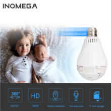 INQMEGA 960P  Wireless IP Camera Bulb Lamp Light Panoramic Fisheye Home Security Surveillance 360 Degree 3D VR k CCTV WIFI Cam