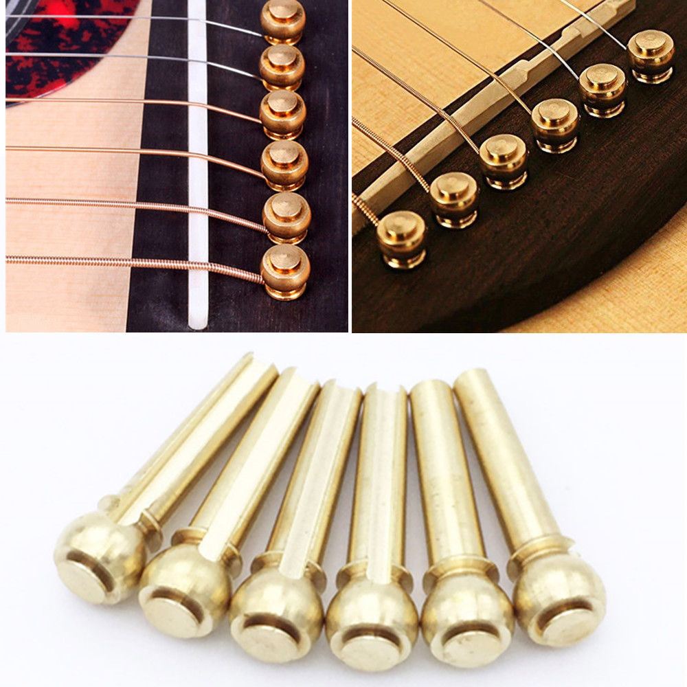 6pcs Acoustic Guitar String Bridge Pins Solid Copper Brass Endpin Replacement Parts Accessories with Pack djs6 acoustic guitar bridge pins set golden 6 pcs