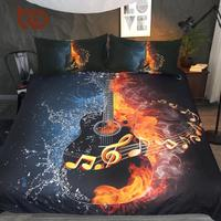 BeddingOutlet Fire And Water Guitar Bedding Set 3D Printed Duvet Cover Set Music Youth Bedclothes 3 Piece Vivid Bed Cover Queen
