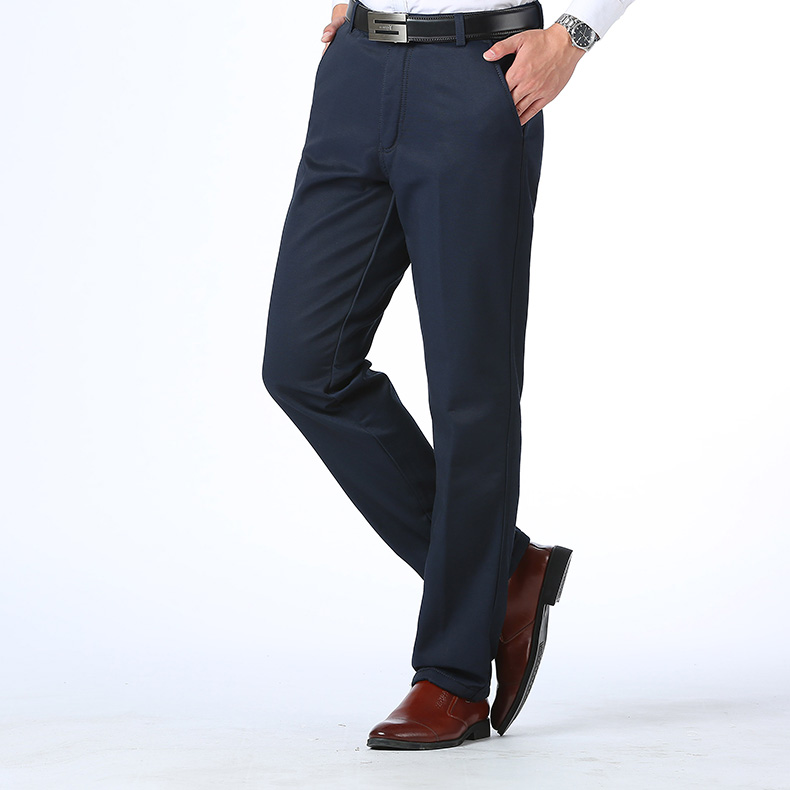 HTB1NjvuuZyYBuNkSnfoq6AWgVXa9 Autumn Winter Men Warm Fleece Classic Black Cotton Pants Mens Business Loose Long Trousers Quality Casual Work Pants Overalls