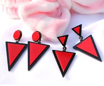 Brand Earing Fluorescent Colorful Triangle Earrings Stud Earrings For Women Crystal Pearl Earrings Fashion Jewelry Wholesale 3