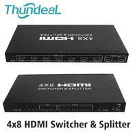 HDMI Matrix 4x8 HD 4K 2K HDMI Switch Splitter 3D 1080P 4 Input 8 Output HDCP HDMI Switcher Splitter Converter Adapter + Remote