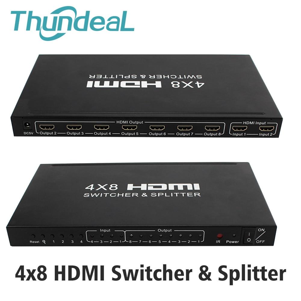 HDMI Matrix 4x8 HD 4K 2K HDMI Interruttore Splitter 3D 1080P 4 Ingresso 8 Uscita HDCP HDMI Switcher Splitter Adattatore + Telecomando