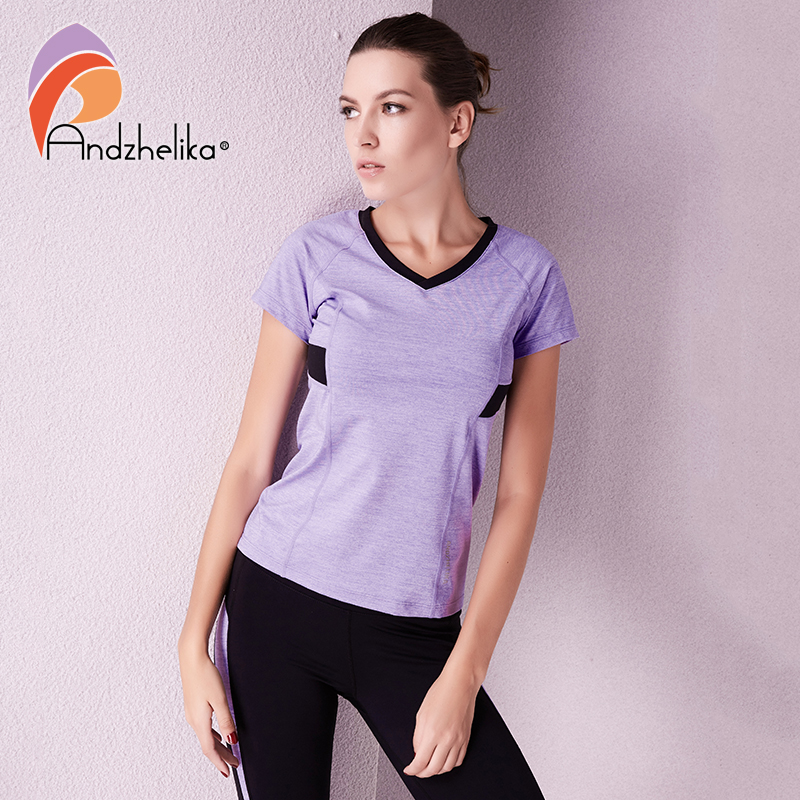 Andzhelika Sports T-Shirt Women Running Yoga Top Jogging Shirt Quick Dry Short Sleeve Shirt High Elasticity Breathable Sportwear quick dry breathable high visibility yellow polo shirt t shirt