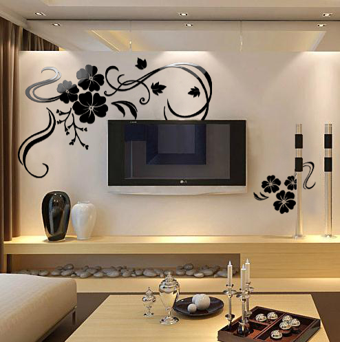 Free Shipping Crystal 3d Wall Stickers Tv Home Decoration Big Black Flowers Vinyl Wall Decals