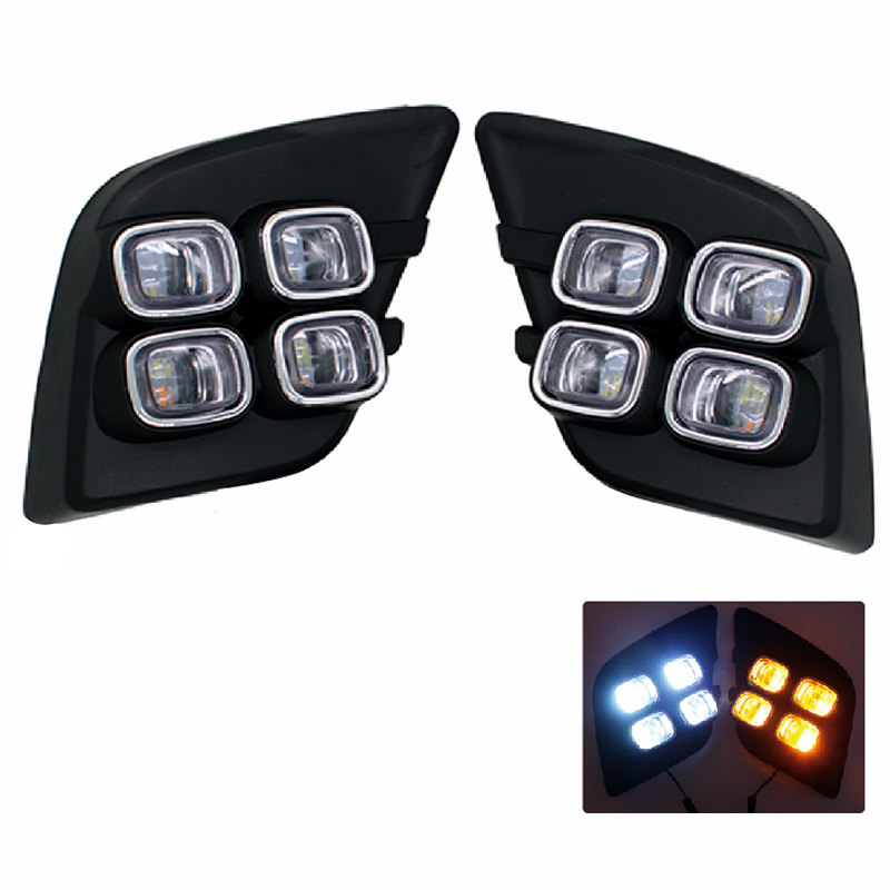 2Pcs/Pair LED DRL Daytime Running Lights for Toyota Hilux Revo Vigo 2015 2016 Daylight Fog Lamp Decoration Signal Function high quality lyc for jeep wrangler yj fog lights daylight running overhead fog lights for toyota nissan lights 30w 3000k 6000k