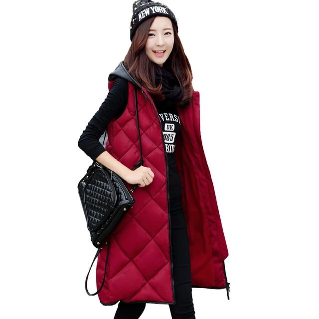 TUYẾT ĐỈNH CAO 2018 Phụ Nữ Mới mùa đông dài vest Giản Dị Mùa Thu Ấm dày Trùm Đầu Không Tay áo ghi lê Nữ Bông Độn vest