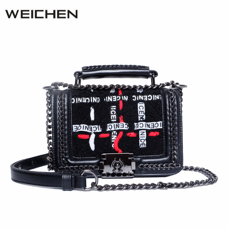 Designer Handbags High Quality Woolen Letter Chain Studded Bags Small Shoulder Bag Female Crossbody Messenger Bag Sac A Main 2017 letter prints hobos women bag leather shoulder bags designer handbags high quality messenger crossbody bag sac a main totes