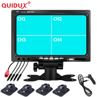 QUIDUX 7 Inch Car Monitor Reverse Parking Monitor 4 Split Screen Input Remote Control Front Left