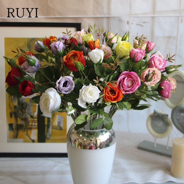 Korean style paris rose artificial silk flower decorative flower for korean style paris rose artificial silk flower decorative flower for wedding flower bouquet hotel restaurant decoration mightylinksfo