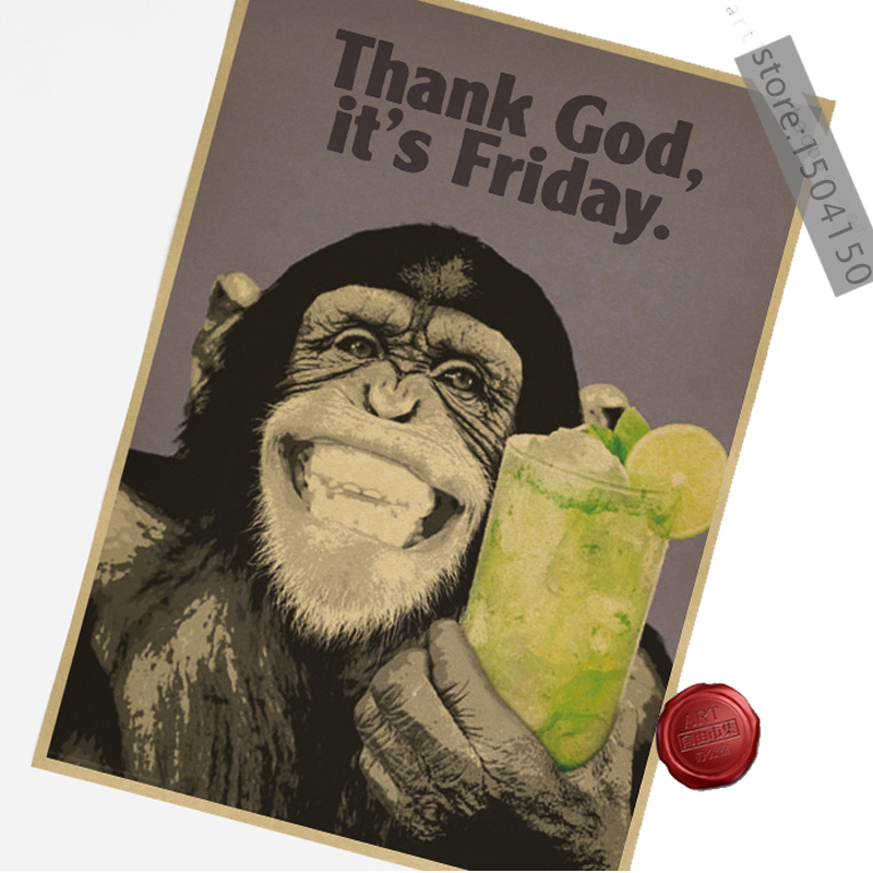 Home Decor Gorilla Law Bar Kraft Paper Poster Thank god Drawing-core 51x35.5cm Classic Vintage Retro Craft Greeting