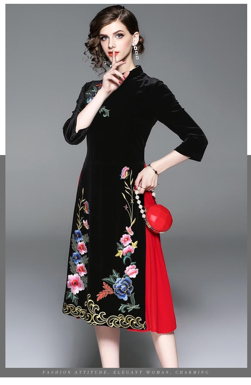 4 Empire Floral A Robes Broderie Femmes Mi Printemps Elegent 3 ligne 2019 Vintage mollet Col Manches Robe Q397 Stand Style ygqU6UcI
