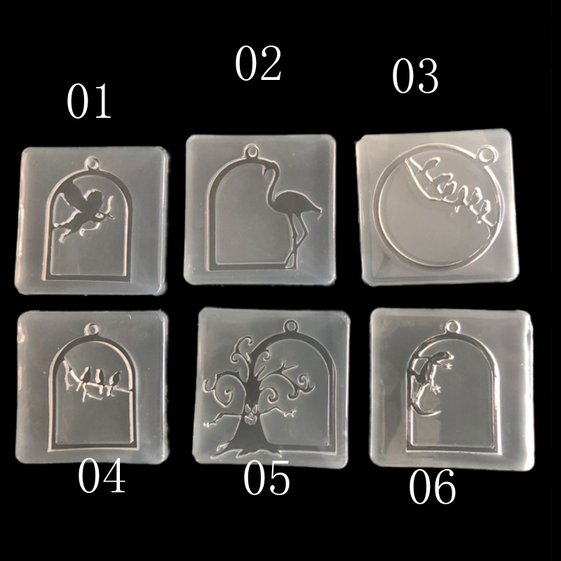 Epoxy Acrylic Border DIY Epoxy Mould Silicone Mold For Jewelry Frame Animals Pendant Resin Cupid Bird Gecko Tree Flamingo