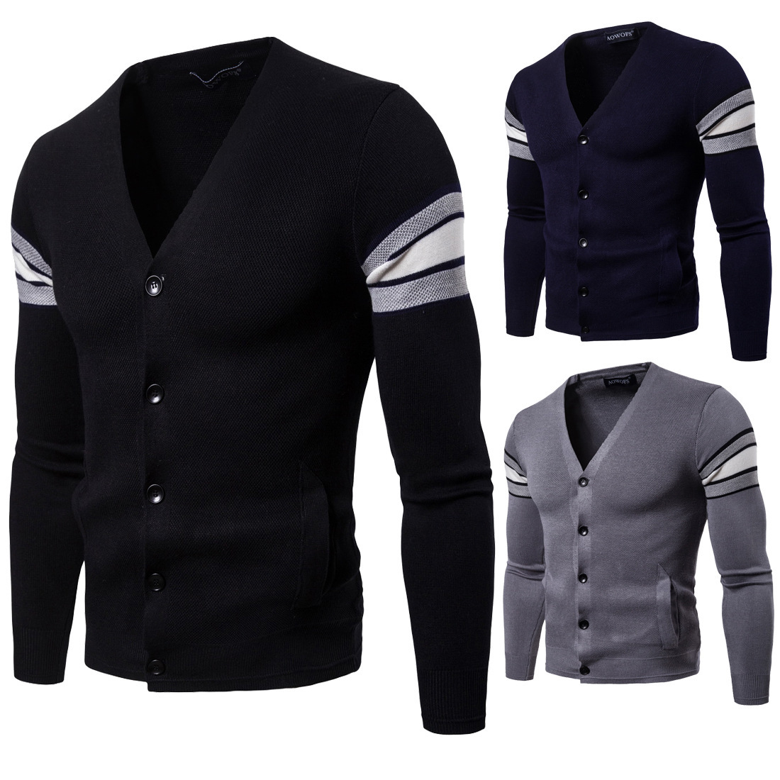 Responsible New Autumn Winter Men's Knitted Cardigan Masculino Sweater Long Sleeve V Neck Black Sweater Business Men Slim Fit Knitwear