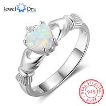 Claddagh Ring Soild 925 Sterling Silver Women's Rings Classic Heart Opal Stone Loyalty Jewelry For Women (JewelOra RI102850)