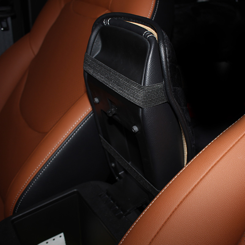 Crown-Crystal-Plush-Car-Armrests-Cover-Pad-Universal-Vehicle-Center-Console-Black-Arm-Rest-Seat-Box-3