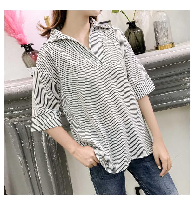 Модная полосатая женская блузка, рубашка размера плюс 3XL 4XL, Женские топы с v-образным вырезом, OL Блузка, женская рубашка, blusas femininas, блузки 0428 40