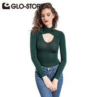 GLO STORY Women Skinng Long Sleeve Bodysuit Jumpsuit 2017 New Deep V Neck Sexy Solid Autumn