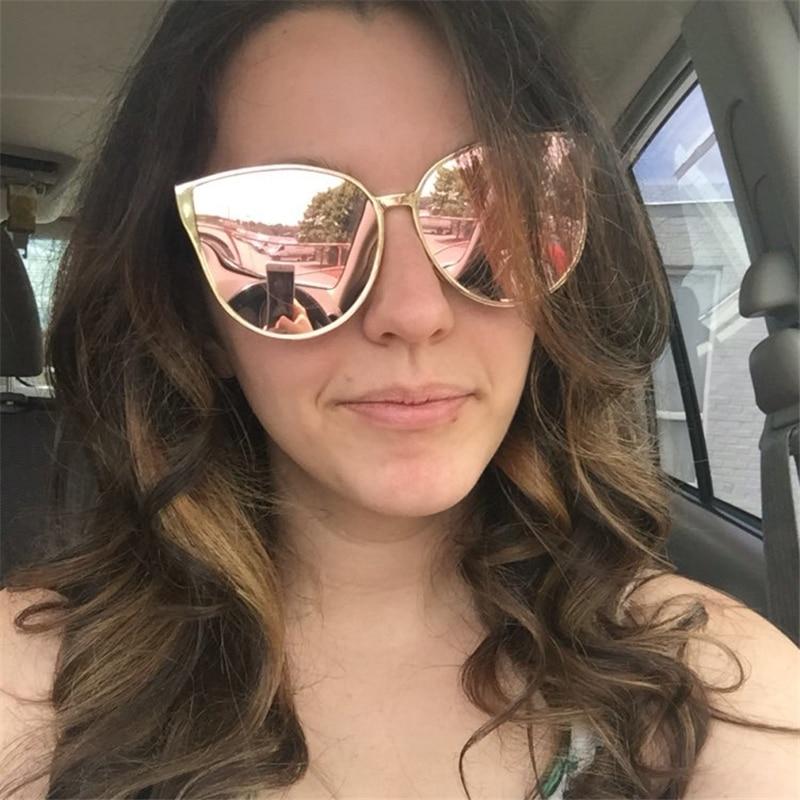 Brand Design Grade Cat Eye Sunglasses Women 2017 Mirror