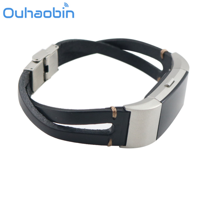Ouhaobin Stainless steel classic buckle Replacement Leather Wristband Band Strap Bracelet For Fitbit Charge 2