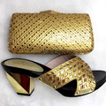 Hot Selling African Woman Shoes And Matching Bag Set Italian High Heel Shoe And Bag Set For Party Size 38-42 TT28 Gold Color