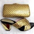 Venta caliente Africano Mujer Zapatos Y Bolso A Juego Conjunto Italiano de Alta talón Del Zapato Y Conjunto de Bolsas Para la Fiesta de Tamaño 38-42 Oro TT28 Color
