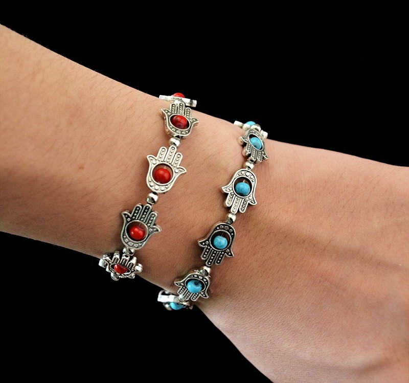 1PC Hand-Shaped Section Bohemian Fatima Palm Leaf Green Turquoise Beaded Anklets of Fatima