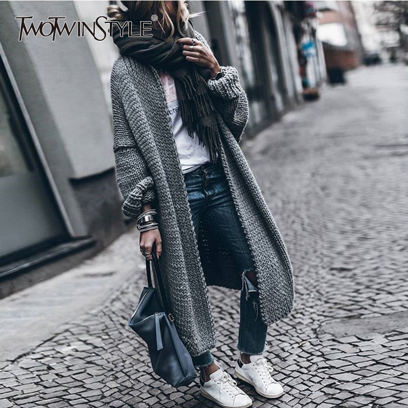 TWOTWINSTYLE Casual Cardigan Sweater Women Long Sleeve Knitted Coats Tops Female 2019 Autumn Fashion Clothes Big