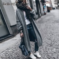 TWOTWINSTYLE Casual Cardigan Sweater Women Long Sleeve Knitted Coats Tops Female 2018 Autumn Fashion Clothes Big Size