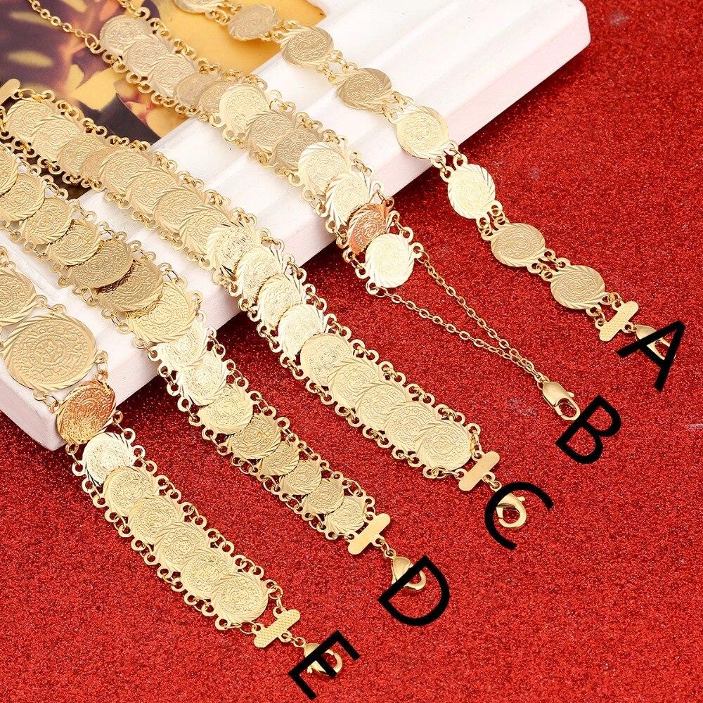 Money Coin Bracelet Gold Islamic Muslim Arab Coins Bracelet Women Men Arab Middle Eastern Jewelry Bangle Africa Gift