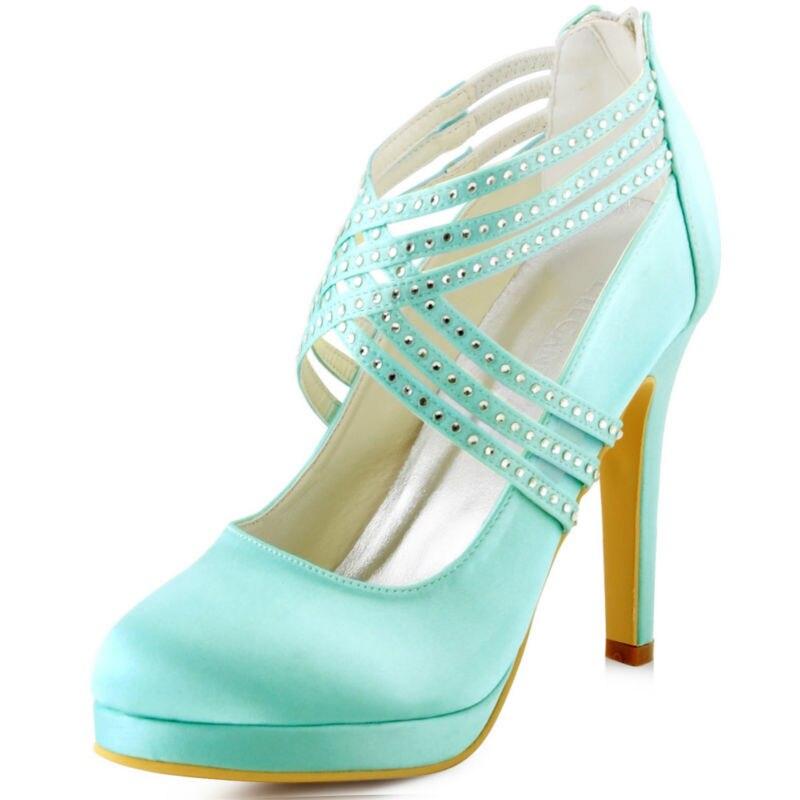 D EP11085 PF Green Teal Mint Women Bridal High Heel Party