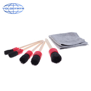 Image 3 - Car Cleaning Kit with 5pcs Detail Brush and 1pcs Microfiber Towel for Leather Air Vents Emblems Rims Wheel Detailing Auto