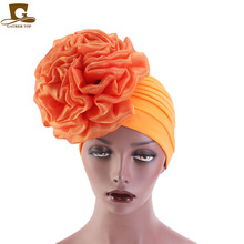 New Women King Flower Turban Hair Accessories wedding Chemo Beanie Hat Ladies Scarf Cap for Loss Fashion Hijab