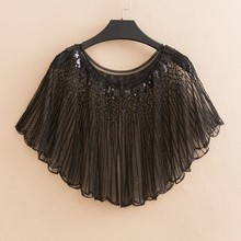 Womens Hollow Out  Shawl Cloak Sequin Elegant O-neck Short Sleeve Cover Up Shirts Tops Casual Woman Clothes