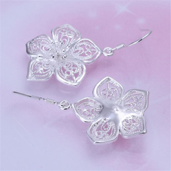 High quality  silver color beautiful flower earrings hot selling fashion jewelry E035 Free shipping Christmas gifts 2