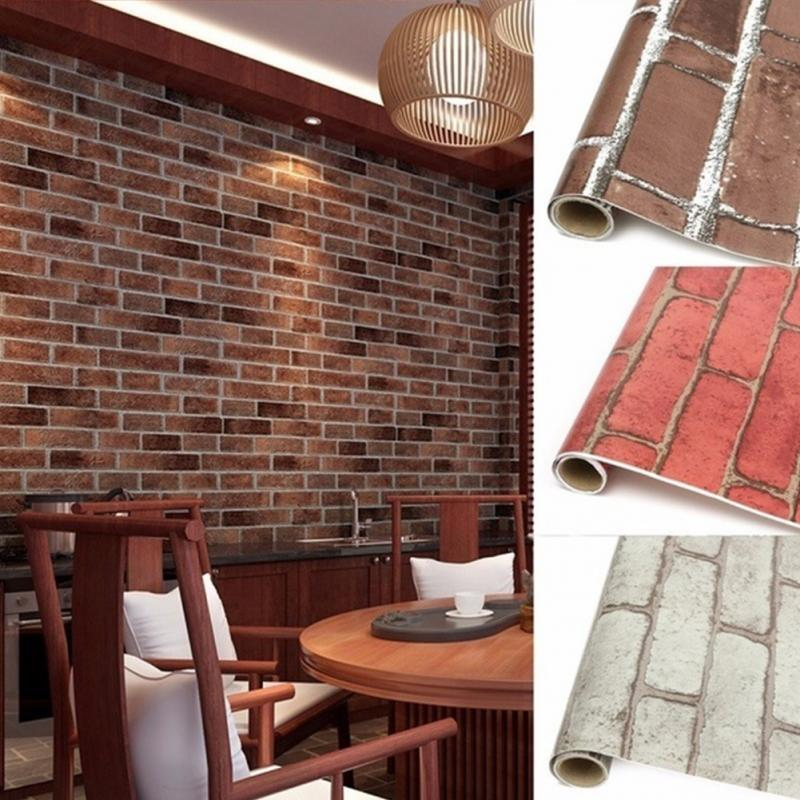 Brick Stone Wall Paper Chinese Rustic Vintage 3D PVC Exfoliator Embossed Washable WallPaper Livingroom Backdrop 100X45cm image