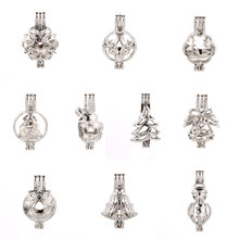 10 Silver Christmas styles Pearl Cage Locket necklace Pendant Jewelry Making Aroma Essential Oil Diffuser For Oyster Pearl(China)