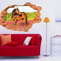 3D Broken Wall Pattern Decorative Wall Decal Wall Stickers Horse Wall Decals Vinyl Stickers Kids Room