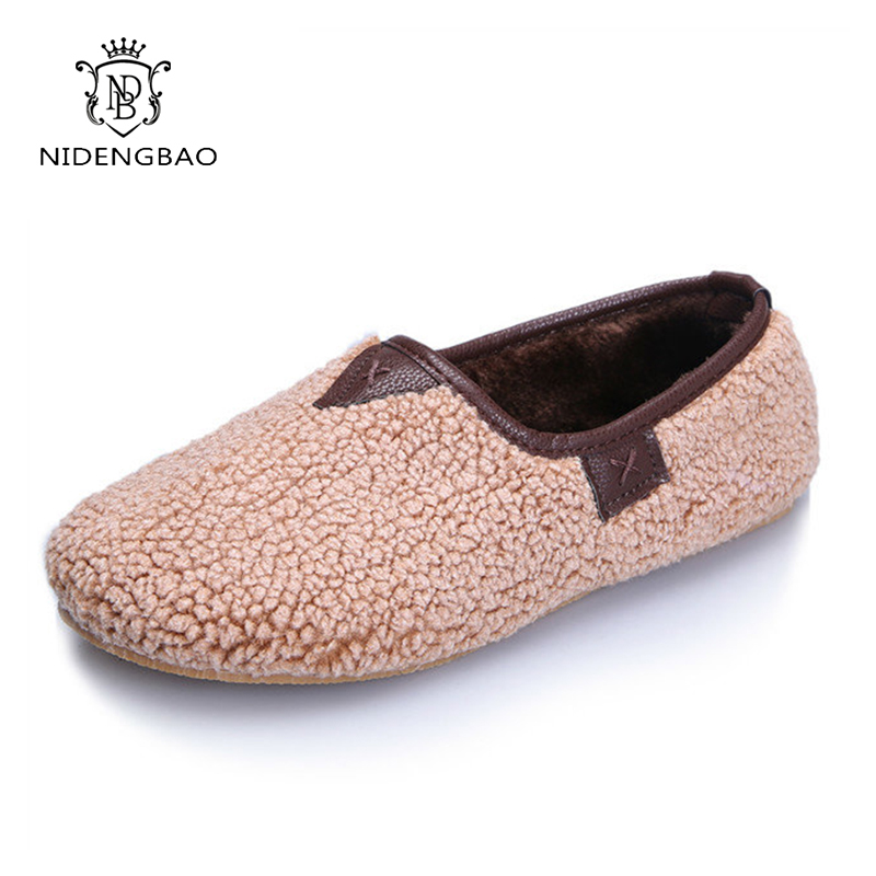 Fashion Home Slippers Women Winter Convenient Warm Casual Shoes Woman Slip on Loafers Soft Flats Office Shoes Women Size 35 42 in Slippers from Shoes