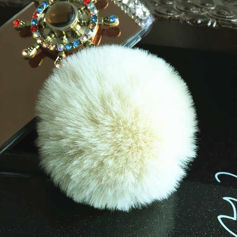 Besar Faux Kulit 8 Cm Bulu Pompom Gantungan Kunci Kelinci Bola Lampu Tas Pom Pom Bola Gantungan Kunci Liontin Poret Clef untuk Wanita Indah Berbulu