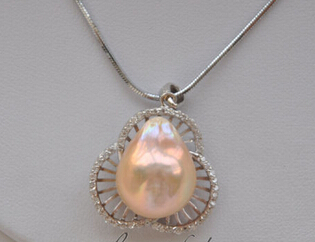 NEW 003524 pink BAROQUE KESHI REBORN PEARL NECKLACE PENDANT CHAIN