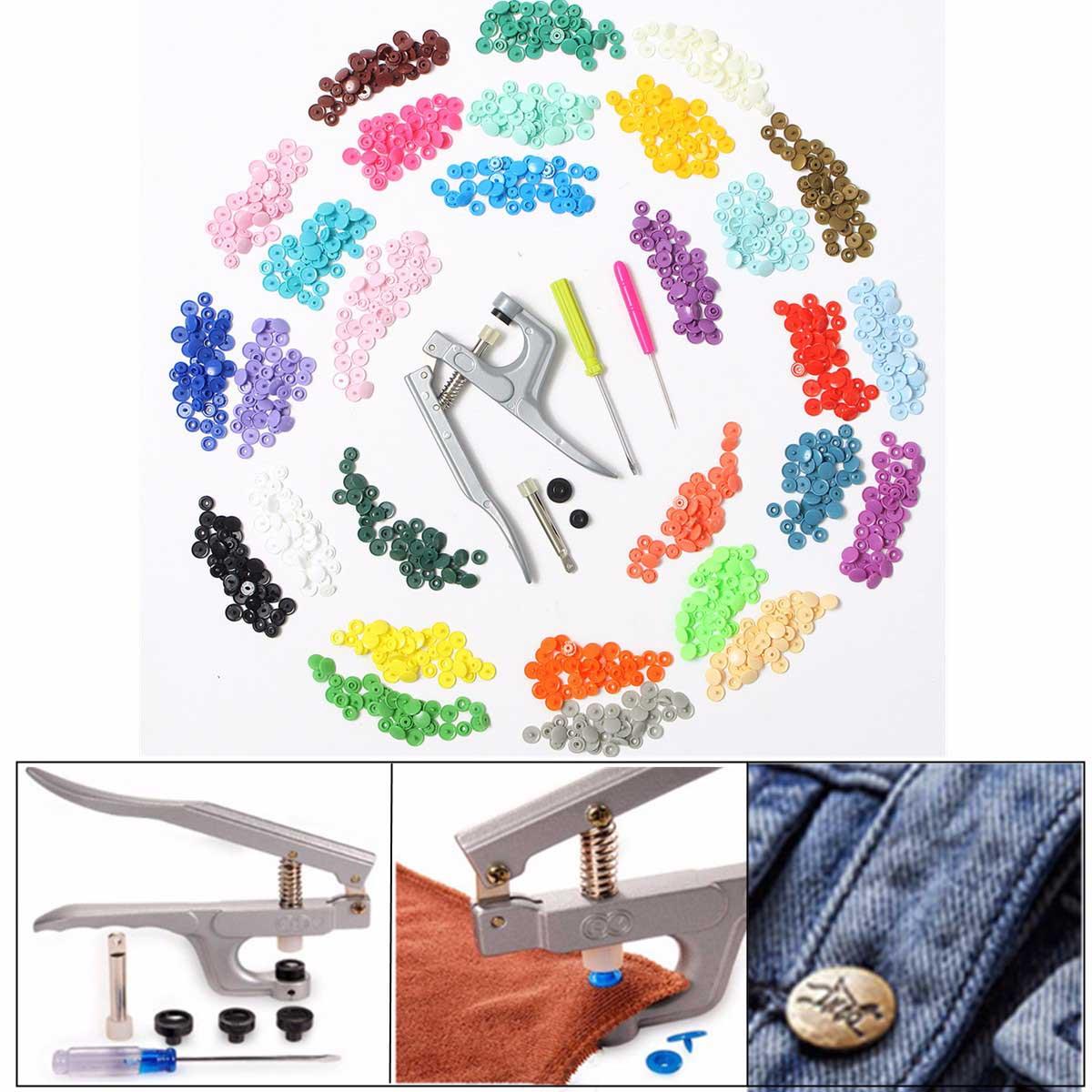 300 pezzi 10 Colori KAM Snaps T5 Snap Avviamento Plastica Poppers Fissaggio + 1 Pinza per il Cucito A Mano di Stoffa FAI DA TE suplies