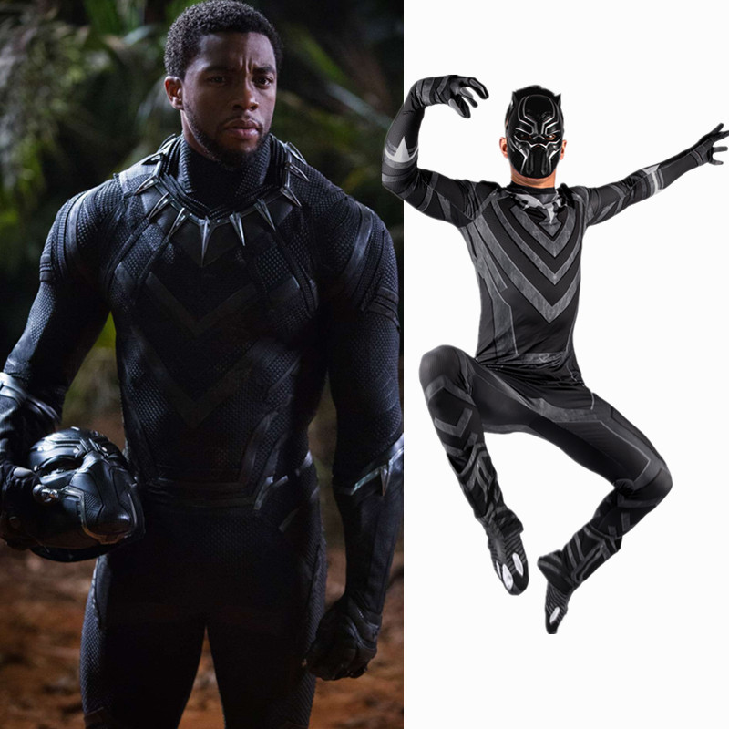 2018 New Black Panther Costume Cosplay Men Adult Luxury Set The Avengers Halloween Captain America Civil War Costume