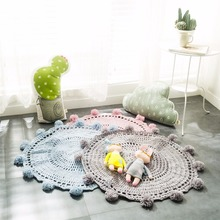 New Crochet Round Rugs Carpets for Children Room Decoration Kids Baby Blanket Game Mat Pink White Blue Gray 80cm Playmat