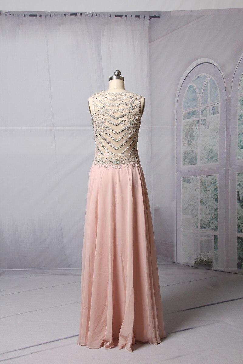Ροζ ασημένια φορέματα A-line 2017 Αμάνικο - Ειδικές φορέματα περίπτωσης - Φωτογραφία 5